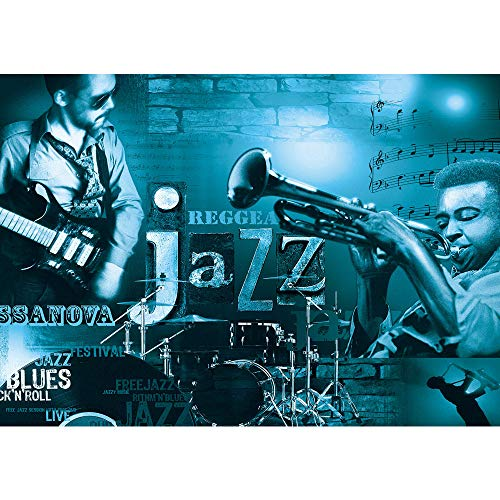 Fototapete 254x184 cm PREMIUM Wand Foto Tapete Wand Bild Papiertapete - Kunst Tapete Musik Kunst Jazz Reggae Gitarre Schlagzeug Trompeten petrol - no. 2648