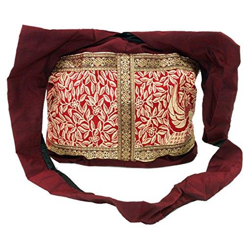 Guru-Shop Sadhu Bag, Schulterbeutel, Hippie Tasche - Weinrot, Herren/Damen, Baumwolle, Size:One Size, 30x35x10 cm, Bunter Stoffbeutel