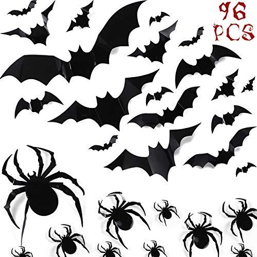 72 Verschiedene Halloween DIY Unheimlich Wand Fledermäuse und 24 Spinnen Wandtattoo Wandaufkleber PVC 3D Halloween Vorabend Dekorationen, Halloween Vorabend Dekor Hause Fenster Dekoration Set
