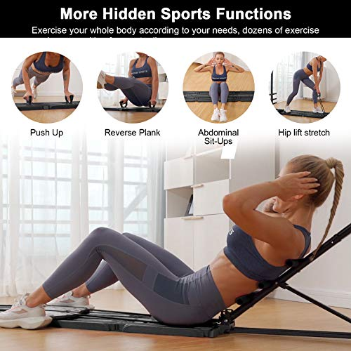 AVAH Portable Home Gym, Foldable Multi-Fit Bench Total Body Training Home Gym with Resistance Bands Bar and Push up Handles Muscle Build Exercise Equipment for Men/Women