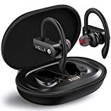 Vislla Bluetooth Headphones Sports Wireless Earbuds TWS BT5.0 Stereo Deep Bass Waterproof Earphones Noise Canceling Headset with Battery Display Charging Case & Built-in Mic for Running/Workout/Gym