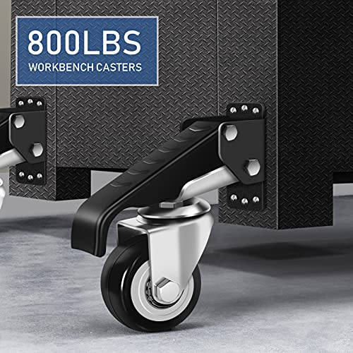 SPACECARE Workbench Casters Heavy Duty Retractable Casters Kit, Capacity 800Lbs Set of 4 Stepdown Casters Adjustable Polyurethane Durable Steel Construction