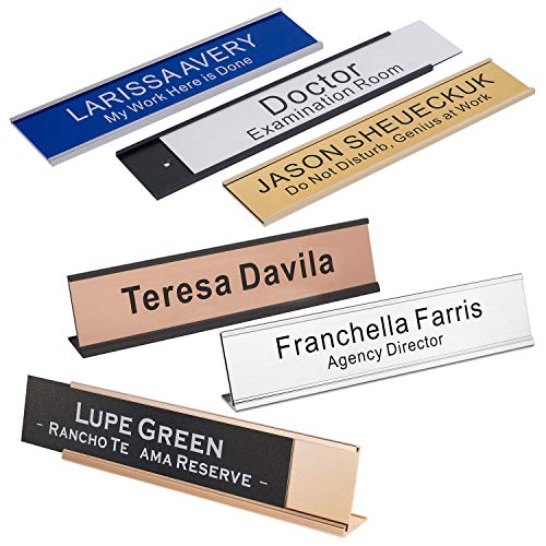 Personalized Office Engraved Name Plate with Wall or Desk Holder 2'x10' 250 x 50 mm