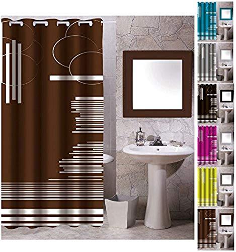 "MSV Anti-Schimmel Textil Duschvorhang - Anti-Bakteriell mit 12 Duschvorhangringen - Polyester, ""Graphics"" Braun, 180x200cm"