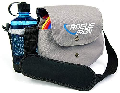 Rogue Iron Disc Golf Bag- Sling Tote Bag for Frisbee Golf - Holds Up to 10 Discs, Water Bottle, and Accessories (Gray)