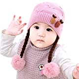 IMLECK Infant Baby Winter Hat Beanies Crochet Warm Knitted Wig Hat Pink