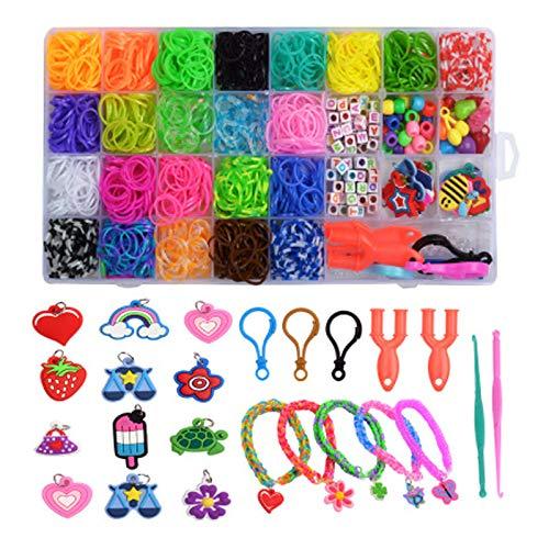 Gomas para Hacer Pulseras,32 Rainbow Celdas Kit de Pulseras de Goma Telar Bandas de Goma DIY Cintas de Telar,para Hacer Joyas para Niños Pulseras Banda de Telar Juego Creativo para Niños,con 2