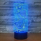 Mddjj Women Bikini Acylic Led 3D Night Light 7-Color Change Remote And Touch Switch Rgb Usb 3D Table Lamp Xmas Gift Decoracion De Dormitorio