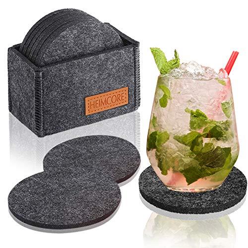 HEIMCORE Filzuntersetzer Rund, 10er Glasuntersetzer mit Halter für Getränke, rutschfest und Hitzebeständig, Tassenuntersetzer aus Filz für Tisch Bar Glas Gläser, Grau
