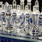 LANHA Juego de ajedrez de Cristal, Tablero de Vidrio Esmerilado Transparente Juego de ajedrez Moderno, Piezas de ajedrez de Cristal y Juegos de ajedrez de Cristal para Principiantes 20 CM