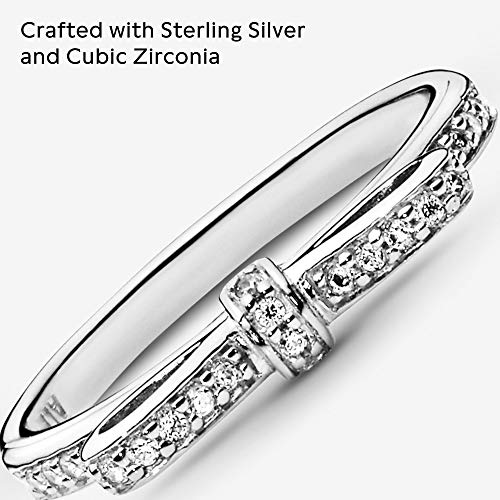 Pandora Jewelry Classic Bow Cubic Zirconia Ring in Sterling Silver, Size 4.5