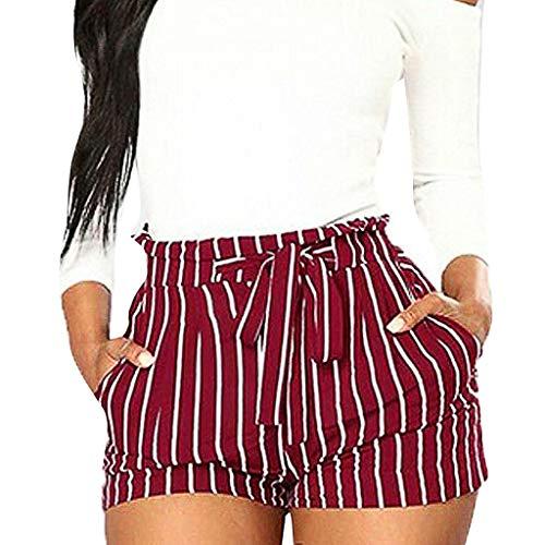 LEEDY Ausverkauf! Hosen Damen Frauen Elegant Gestreifte Hohe Taille Hose Kurze Hot Pants Vintage Streifen Strand Mini Shorts Sommer Lose Yoga Sporthosen mit Gürtel