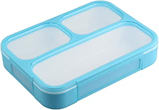Bento Lunch Box for Kids Adults, 3 Compartment Lunch Boxes with Leak-proof Lids, BPA-Free Plastic Food Storage Containers for School Work Outdoors Meals and Snacks, Microwave Safe
