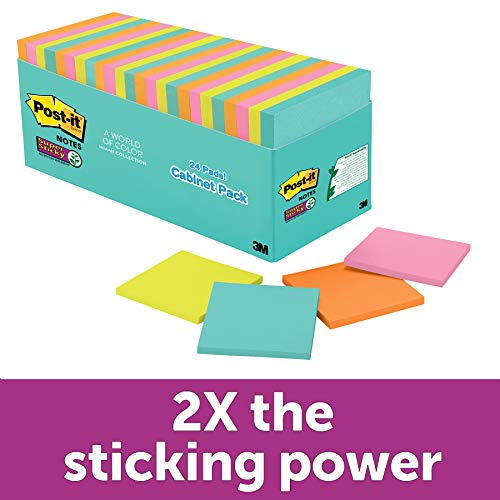 Post-it Super Sticky Notes, 3 in x 3 in, 24 Pads, 70 Sheets/Pad (654-24SSMIA-CP)