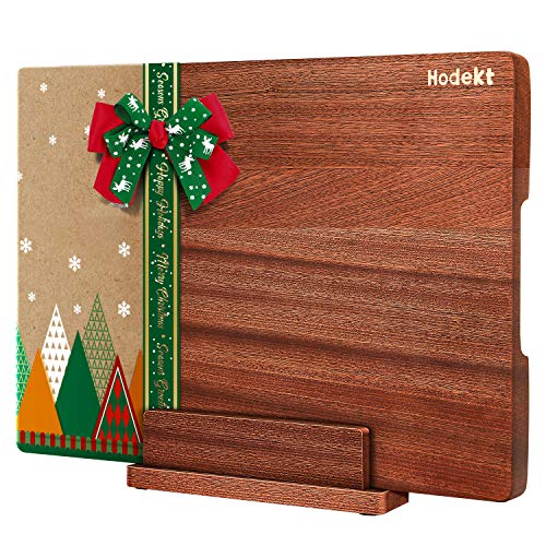 Wood Cutting Board with Stand, Extra Large Wooden Chopping Boards, Thick Acacia Bamboo Butcher Block BPA FREE Reversible Meat Vegetable Cheese Kitchen Board