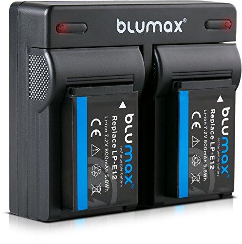 Blumax 2 baterías + cargador dual compatible con Canon LP-E12 | 800...