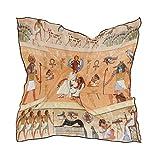ALARGE - Bufanda cuadrada de seda, estilo tribal vintage, africano, protector solar egipcio, ligero, suave, pañuelo envolvente, chal para mujeres y niñas