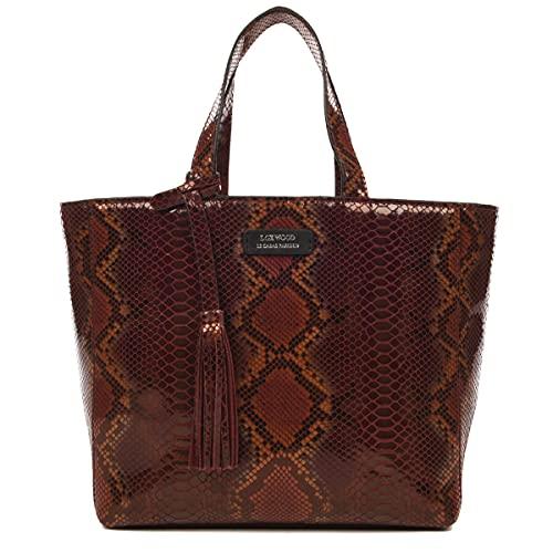 Loxwood - Piccola borsa in pelle effetto pitone, Bordeaux, Taglia unica