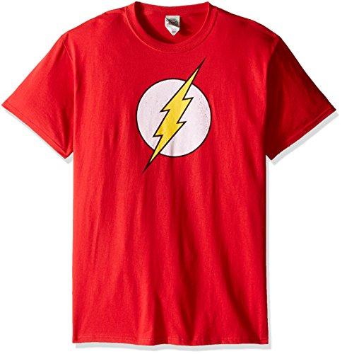 DC Comics Men's Short Sleeve T-Shirt, Flash Logo Red, Large