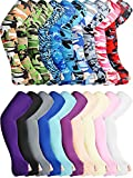 20 Pairs Sun Protection Arm Sleeves Fingerless Gloves Unisex Arm Covers Ice Silk Cooling Sleeves Protective Non-Slip Arm Sleeves for Outdoor Sports Running Cycling Driving, 20 Colors