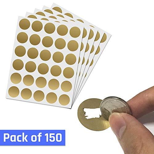 150 Stück, 25mm Rubbel Etiketten Rubbellose Aufkleber, Scratch Sticker - Gold