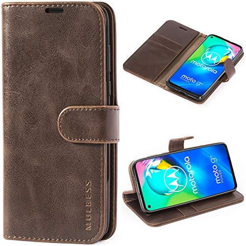 Mulbess Handyhülle für Motorola Moto G8 Power Hülle Leder, Motorola Moto G8 Power Handy Hüllen, Vintage Flip Handytasche Schutzhülle für Motorola Moto G8 Power Hülle, Kaffee Braun