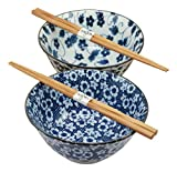 Ebros Japanese Asian Vintage Design Floral Autumn Blue And White Porcelain Bowl Set of 2 With Wooden Chopsticks Kitchen And Dining Dishwasher Safe Perfect For Udon Ramen Pho Wonton Soup Made In Japan