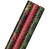 Hallmark Victorian Christmas Wrapping Paper with Cut Lines on Reverse (3 Rolls: 120 sq. ft. ttl) Luxe Florals & Snowflake Patterns, Dark Reds, Forest Greens
