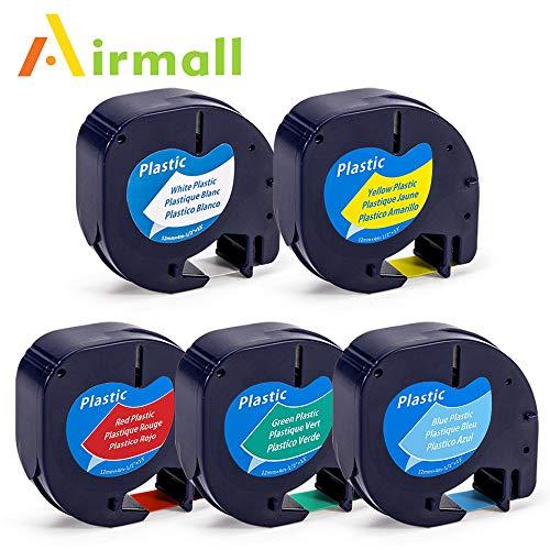 Airmall kompatible Etikettenband als Ersatz für Dymo Letratag Kunststoff Etikettenband 12mm x 4m Schwarz auf Weiß Gelb Grün Rot Blau Schriftband Kassette für LT-100H LT-100T LT-110T QX50 XR XM 2000