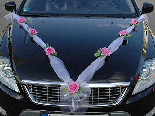 Organza M Auto Schmuck Braut Paar Rose Deko Dekoration Hochzeit Car Auto Wedding Deko (Rosa/Weiß)