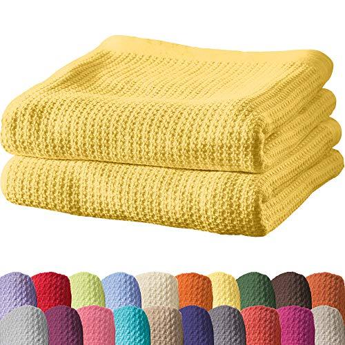 Erwin Müller Sommerdecke, Baumwolldecke - 2er-Pack - luftig-leicht, weiche Qualität, sehr angenehm - gelb Größe 100x150 cm - weitere Farben und Größen - 100% Baumwolle