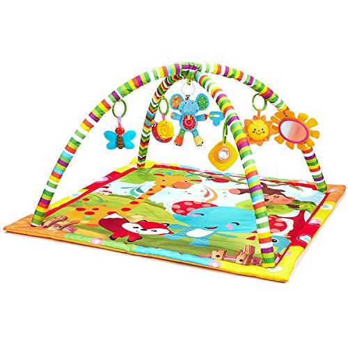 New Born Baby Spielmatte, Play Gym, Musical Activity Gym, weiches Spielzeug, Spaß Tiere, Musik, Texturen, Rassel, Beißring, Spiegel, neugeborene Kick und Spielmatte 0-36 Monate