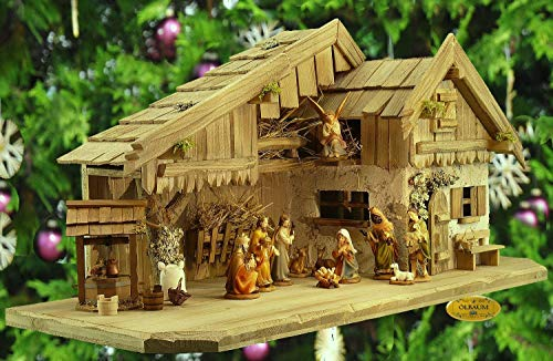Weihnachtskrippe klassisch, antik gebeizt, Alpenländische Krippe mit FIGUREN und BRUNNEN-SET, Massivholz ANTIK, ÖLBAUM