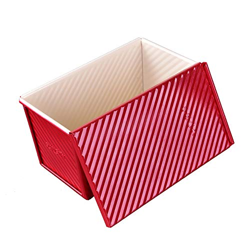 LI-GELISI Loaf Pan with Cover, Quick Release Coating Professional 1-Pound Non-Stick Loaf Pan(Red)