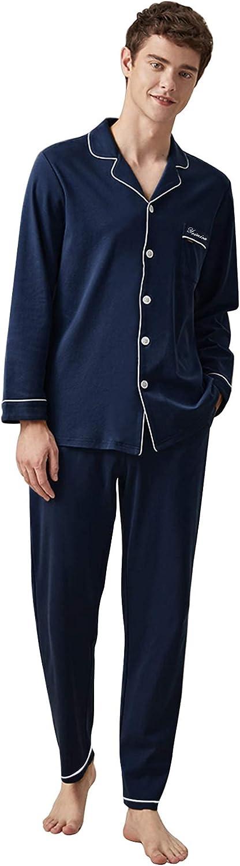 Yoimira Men's Pajamas Set long Sleeve Crew Neck Lounge Sleepwear (deep blue, Medium)