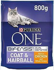 Purina One Coat and Hairball - Alimento seco para Gatos para Adultos Ricos en Pollo y Granos integrales, 800 g (Paquete de 4)
