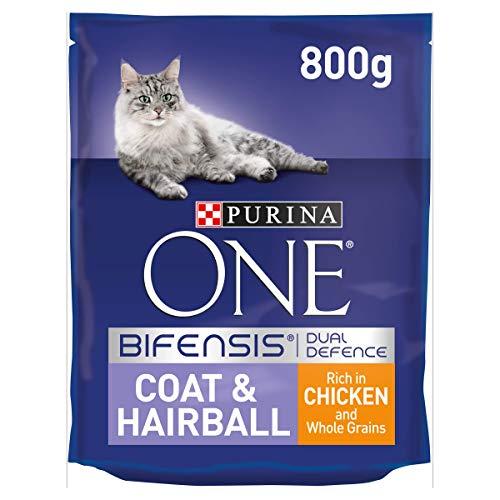 Purina One Coat And Hairball Adult Dry Cat Cibo Ricco di Pollo e Cereali integrali, 800 Grammi