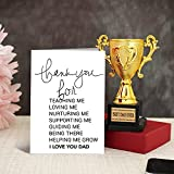 tied ribbons fathers day gift for dad golden trophy with greeting card- Multi color