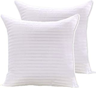 Soft 2Pcs Stripe Hotel Cushion- 45 X 45 cm, Stripe-2, White, Polyester