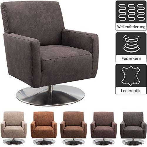 CAVADORE Drehsessel Barney mit Federkern / Drehbarer Sessel mit Armlehnen in Lederoptik / 68 x 84 x 71 / Mikrofaser, anthrazit
