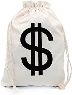 Hibeiers Natural Canvas Money Bag ,Drawstring Bag, Dollar Sign Bank Bag Dust-Proof Bag for Handbags, Shoes and Purses ,Dra...