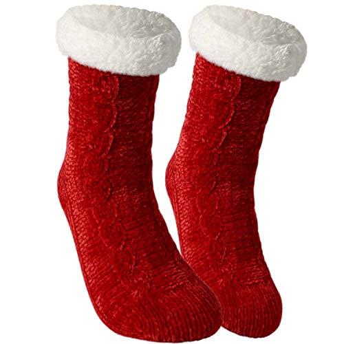 Tacobear Damen Kuschelsocken Haussocken Bettscoken Hüttensocken Wintersocken Chenille Socken Warme Dicke Socken mit Antirutschsohle für Damen und Herren (Rot, ohne Pompom)