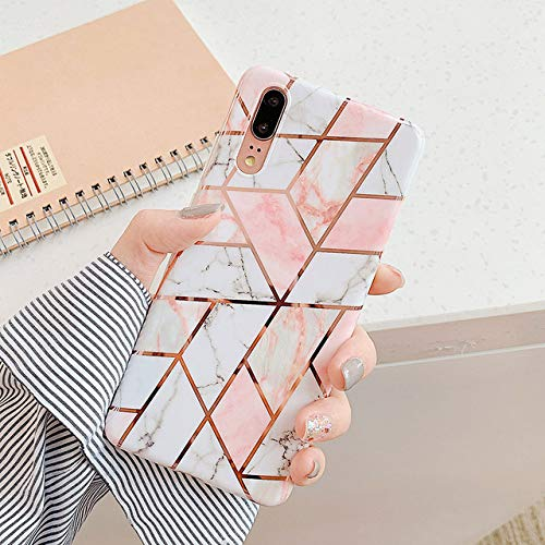 WGOUT Plating Geometric Marble Phone Case for Huawei P40 Pro P30 P20 Lite Pro Mate 30 20 Lite Glossy Soft IMD Phone Back Cover,E,for Mate 20 Lite