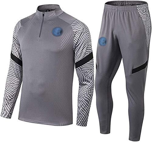 SXMY 2021 Milāň Uniformes Trainingsanzug für Herren, Sporthose und Sweatshirt für Herren, halblanges Fußballtrikot mit Reißverschluss, Größe S, Farbe: Grau / Beige.