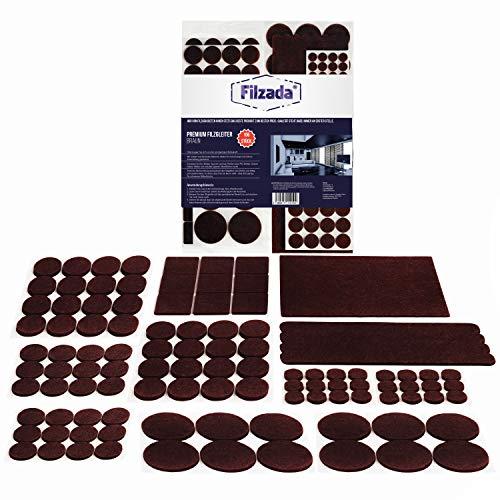 Filzada Filzgleiter Selbstklebend Set 106 Stück (Eckig und Rund) - Braun - Profi Möbelgleiter Filz Mit Idealer Klebkraft