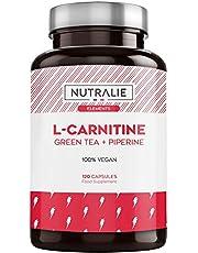 L-Carnitine Natuurlijke | Veganistische Krachtige Vetverbrander voor Gewichtsverlies met L-Carnitine, Natuurlijke Groene Thee en Zwarte Peper | 120 Vegan Capsules Nutralie