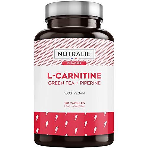 L-Carnitine Pure | Brûleur de Graisse Puissant et Végétalienne pour la Perte de Poids avec L-Carnitine, Thé Vert Naturel et Poivre Noir | 120 Gélules Végétaliennes Nutralie