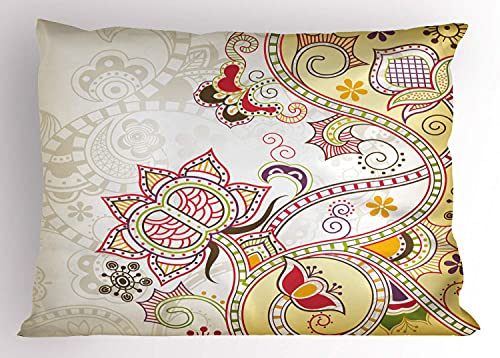 Cache-Oreiller Floral, Motif d'ornements de Fleurs orientales Curvy Swirled Abstract Design Art coloré, 45X45 cm