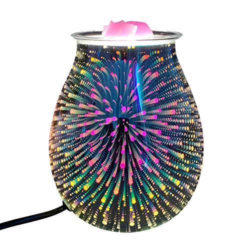 Efecto 3D Vela eléctrica Aroma AROMA LÁMPARA Decorativa, Arte Fuegos artificiales Vidrio Acabado quemador de aceite con luz nocturna, cera Fragancia Vela Aroma Lámpara decorativa el dormitorio