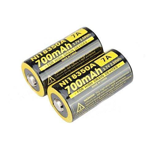 NEW 2x Nitecore IMR 18350 NI18350A 700mAh 7A 3.7V Rechargeable Battery